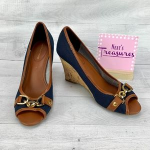 Tommy Hilfiger Denim Blue Leather Trim Cork Wedge